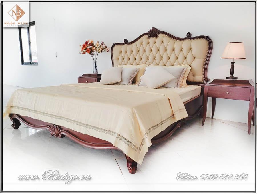 Giường ngủ gỗ gõ đỏ mẫu CG năm 2021