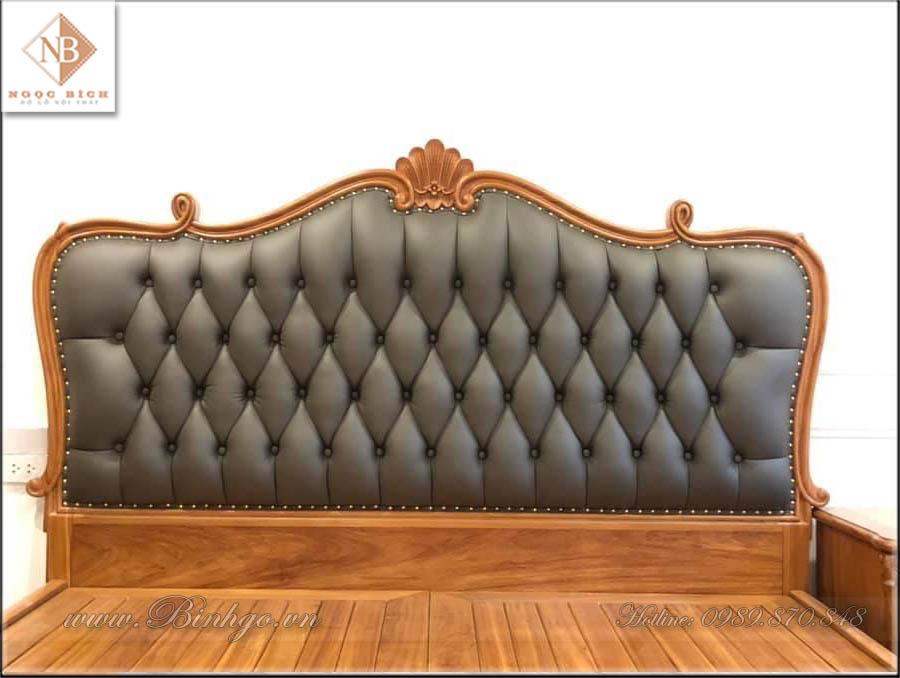 Giường ngủ tân cổ điển gỗ gõ đỏ năm 2021 - Mã: G-2021